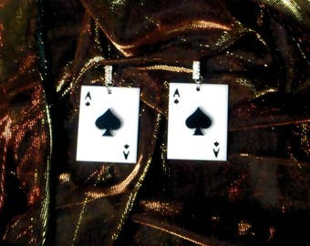 Black and White ACE OF SPADES Acrylic Earrings With Silver Rhinestone Earring Posts
