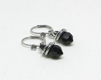 Short earrings - Swarovski - black - KATE Crystal