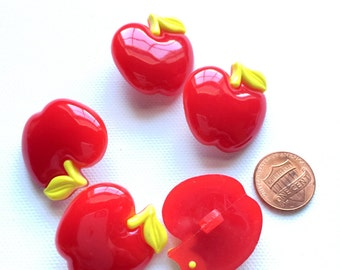 2 Large Apple Buttons, Red Buttons, Fruit Buttons, Apple for the Teacher, Shank, Sewing, Crafts Supplies