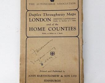 Vintage 1948 Color Map of London