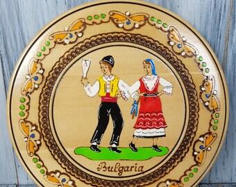 Souvenir Bulgaria Plate, Wooden Decorative Handpainted Souvenir Plate,  Wall Décor, Wooden plate, Souvenir from Bulgaria, Hand painted plate