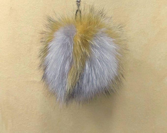 Fox Fur Pom Pom, Bag Pom Pom,Fur keychain F598
