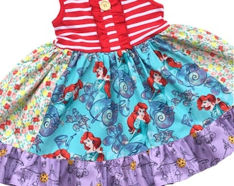 Disney Ariel Little Mermaid dress Princess dress mermaid birthday party girls disney vacation clothing sea world Momi boutique custom dress