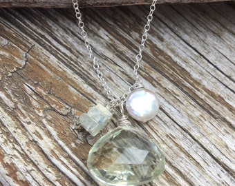 Sterling Green Amethyst AAA Mystic Aquamarine Necklace