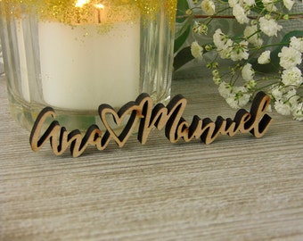 Custom Wood Laser Cut Names for your Invitations, Wedding Decor or Wedding Favors & Shower Gifts (Set of 10), Laser Cut Heart, Wood Tags