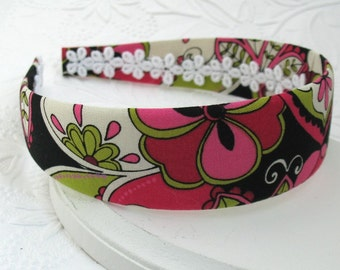 Fabric Covered Headband, Mod Flowers Wide Fabric Covered Plastic Headband, Adult Headband, Womens Headband
