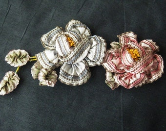 Large Antique Silk Ribbonwork Applique - Ombre Ribbon - Flowers and Leaves