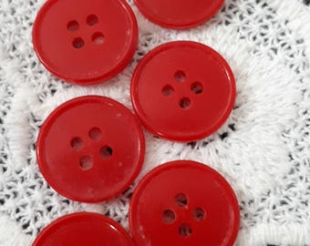 set of 6 vintage buttons red 18 mm