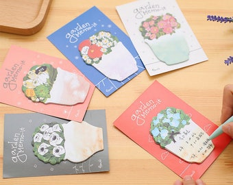 Set of 8, flower Sticky Notes, floral, plant sticky notes, garden, Post it, to do, Scrapbooking, cute memo pad, Stick Marker, Stationery
