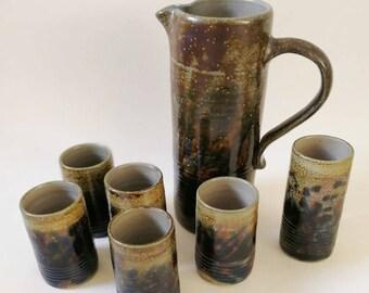 vintage studio ceramic mugs, handmade, set of six, plus jar one of a kind, water jar, german pottery signed, mugs, midcentury