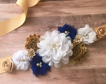 Royal Blue and Gold Maternity Sash Boy It's a boy Flower sash Belly Sash Gender Reveal Party Baby Shower Gift Keepsake