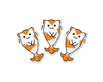 Cute Koi Stickers Paper Stickers Journaling Sticker Flakes Cute Koi Goldfish Cats Humor Silly Stationery Scrapbooking Cat Fish