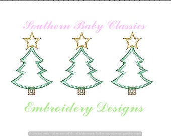 Christmas Tree Blanket Stitch Applique Trees Row Three Trio Pine Design File for Embroidery MachinebInstant Download