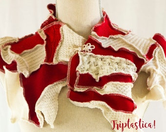 One of a kind Upcycled Scarf, Unique Cozy Collar, Red and Off-White  Patchwork Shawl, Triptastica Eco Couture