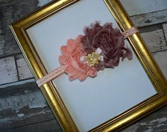 Bandeau Fleur shabby Vieux Rose 6/12mois