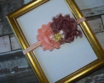 Vintage 6/12 months pink shabby flower headband