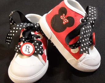 Red Minnie Mouse High Top Shoes w/Polka Dot Laces & Monogram Clips