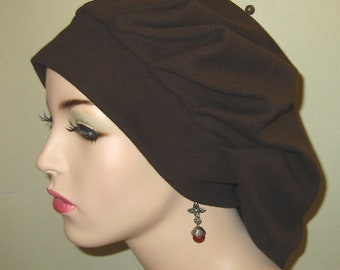 Womens Brown Pleated Snood, Hijab, Hair Loss, Chef Hat