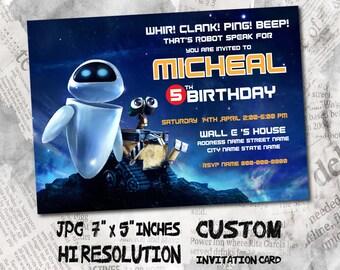 Wall e invitation etsy wall e birthday invitation card size 5x7 inches birthday party invitation card filmwisefo