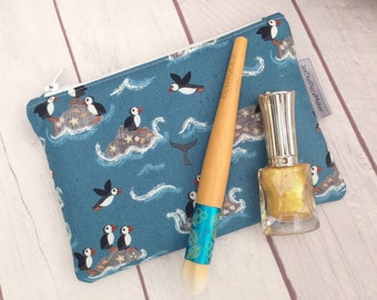 Puffins small makeup bag, make up bag, zippered pouch, storage pouch, phone pouch, puffins, whales, puffins mirror.