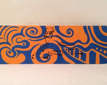 """Vintage Modern Abstract Oil Painting on Canvas Psychedelic DJ 12"""" x 36"""""""