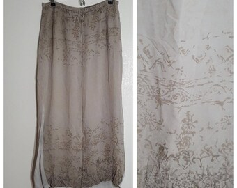 SALE SPRING Silk Neutral Maxi / Size 14 / large flowy Skirt