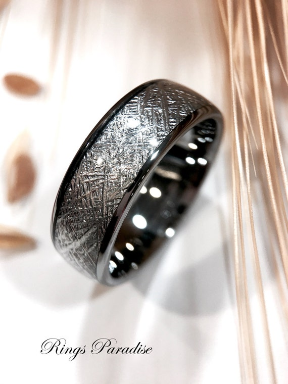 Meteorite Rings Wedding Bands His and Her Matching Rings