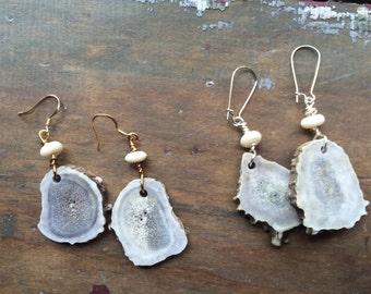 Raw antler and vintage bead earrings