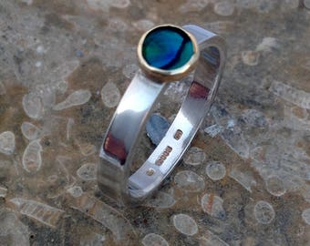 Paua shell set in 9ct gold and sterling silver ring