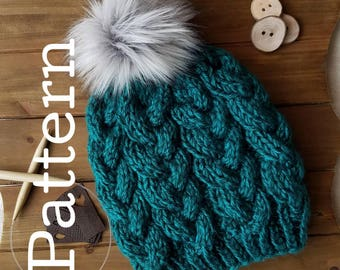 Knitting PATTERN -The California Beanie, Light Weight Braided Cable Beanie, PDF Knitting Pattern, Downloadable File, Cable Hat Pattern