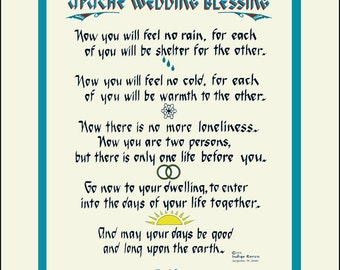 Apache Wedding Blessing Personalized Matted, Southwest design by artist/calligrapher Jacqueline Shuler. FREE  U.S. SHIPPING!