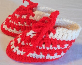 Baby Christmas Slippers Foot Warmers in Red and Winter White