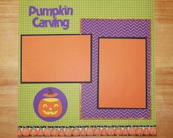 Pumpkin Carving Scrapbook Page - Pumpkin Carving Scrapbook Layout - 12 x 12 Scrapbook - Halloween - Jack O Lantern - Picking Pumpkins