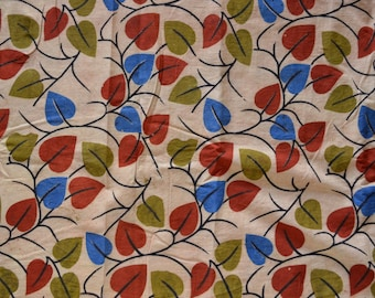 Kalamkari print,  Organic Indian summer cotton fabric - One yard