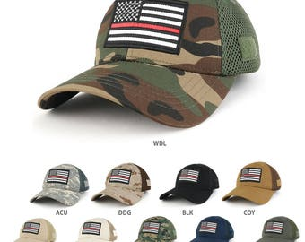 Thin Red Line American Flag Embroidered Patch Low Crown Adjustable Tactical Mesh Cap  (T91-USA-TRL-T80)