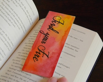 """Watercolor bookmark with inspiring quote, """"Find your fire"""""""