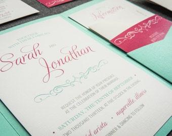 "Pink and Mint Invitations, Aqua Pocketfold Invitations with Raffia, Bat Mitzvah Invitations - ""Enchanting Vintage"" PF-NL-v1 SAMPLE"