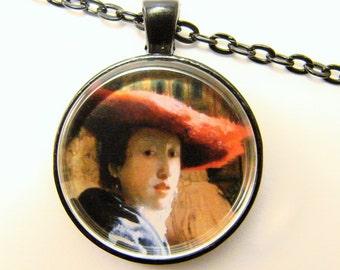 VERMEER Girl with a RED HAT Necklace -- Detail from Vermeer's Meisje met de rode hoed, 17th Century painting, Friendship token
