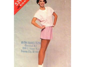 1980s Top & Shorts Pattern Butterick 5291 Pullover Drawstring Top Short Shorts Fitness Wear Women Sewing Pattern Size 12 14 16 UNCUT