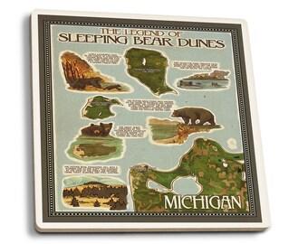 Sleeping Bear Dunes MI - Map - LP Artwork (Set of 4 Ceramic Coasters)