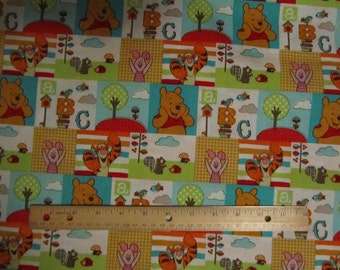 Pooh and Friends Bright Colored Blocked Cotton Fabric by the Yard