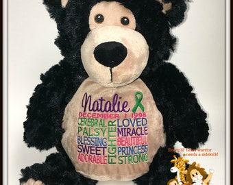 Cerebral Palsy,  personalized Bear, Warrior Pet, stuffed animal