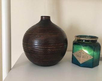 1970s dark brown vase