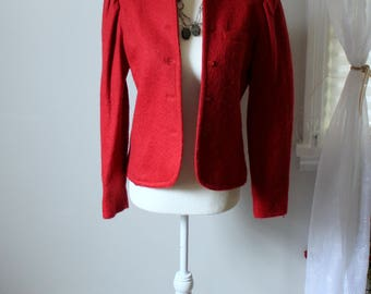 Vintage Red Patty Woodard Wool Jacket // Fitted Button Down 1970's Coat // Fully Lined with Front Breast Pocket Women's Size S-M