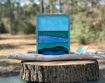 Stained Glass Ocean on Driftwood