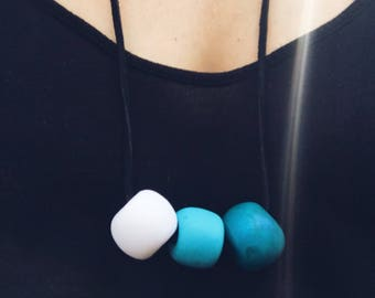 Three blue beads