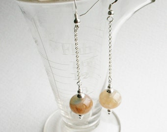 Silver Dangle Earrings Statement Italian Agate Stone