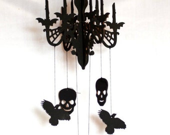 Hanger chandelier, Gothic decor, Wooden halloween Mobile, Monster High, candelabrum, Autumn October gift, Skull bat crow, party decorations