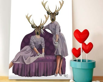 Deer Art Print - Deer Twins in Purple Dresses - Deer print Acrylic Art Original Painting Wall Decor hanging stag gemini gift twin gift