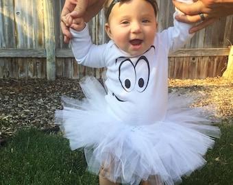 Ghost Baby Girl Tutu Set, Halloween Tutu Outfit, Ghost Tutu, Happy Ghost bodysuit, Newborn Tutu Set, Baby Tutu, Infant Tutu, Toddler Tutu